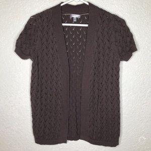 Croft & Barrow Brown Short Sleeve Cardigan Size S